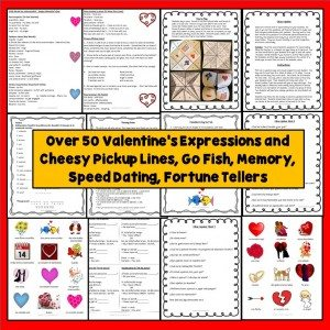 Spanish Valentine's Day, Día de los enamorados Vocabulary and Games