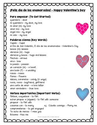 Spanish Valentine's Day Vocabulary