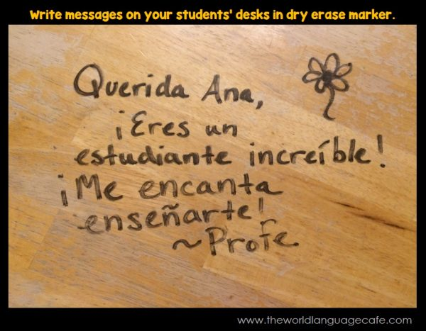 Write notes on student desks