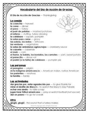 Spanish Thanksgiving Activity
