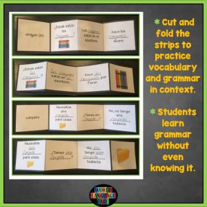 Teach vocabulary and grammar with these Spanish Interactive Notebook Trifold Flashcards