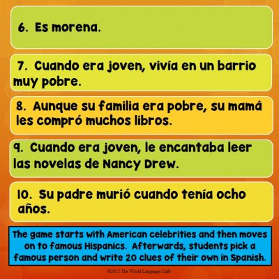 Famous Hispanics Game, Hispanic Heritage Month Lesson Plans