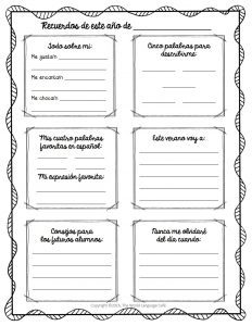 Review writing with this Spanish End of Year Memory Page.
