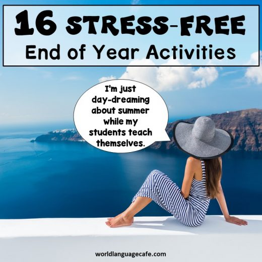 16 French, Spanish End of Year Activities, Games
