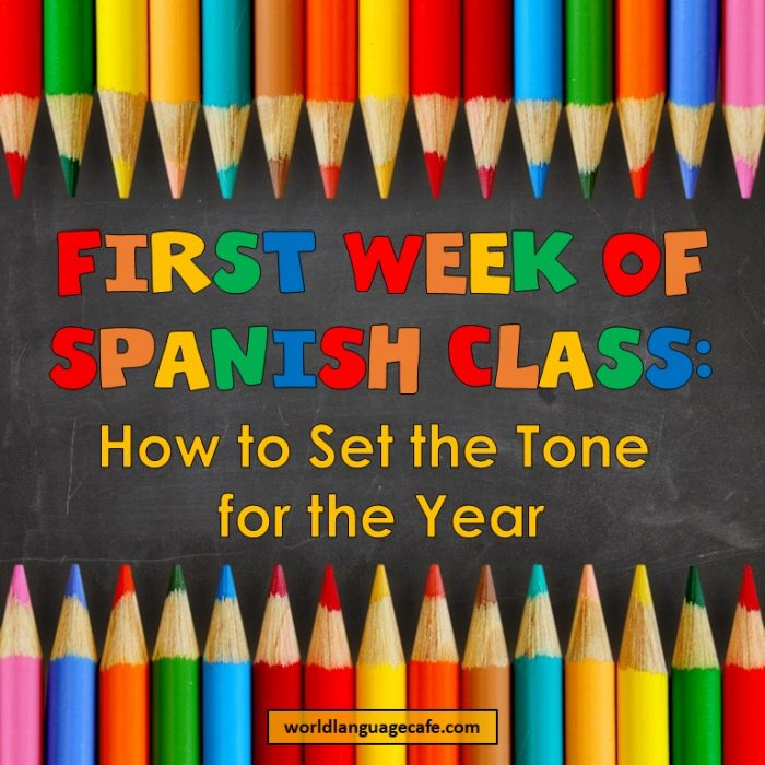 First Day of Spanish Class, First Week of Spanish Class, Activities, Games, Lesson Plans