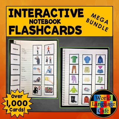 Spanish Interactive Notebook Vocabulary and Verb Flashcards