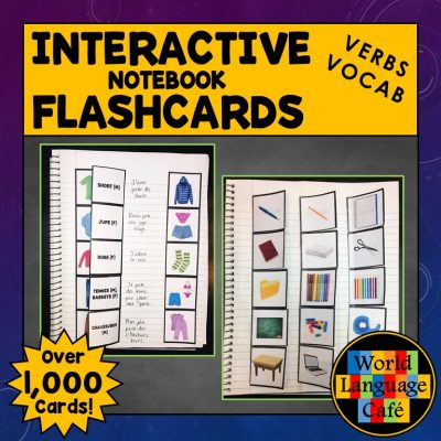 French Interactive Notebook Flashcards for weather, body parts, verbs, clothing, etc.