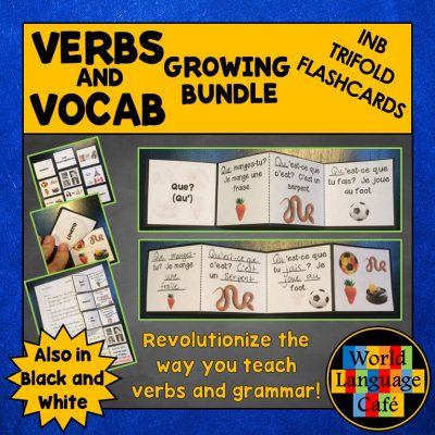 French Interactive Notebook Trifold Flashcards for Verbs and Vocabulary