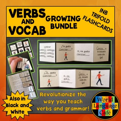 Spanish Interactive Notebook Trifold Flashcards for Verbs and Vocabulary