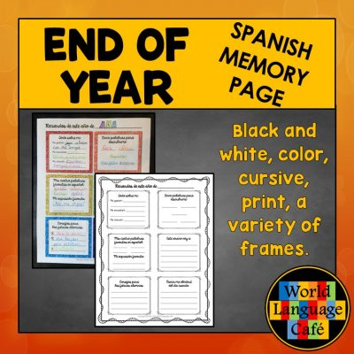 Spanish End of Year Activity, Yearbook Page