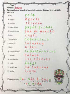 Day of the Dead Spanish Worksheets