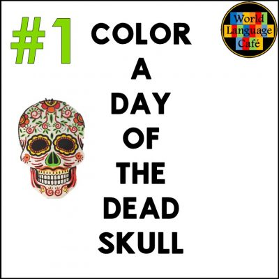 Students color skulls using Day of the Dead coloring pages.