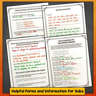 Emergency Lesson Plans, Forms and Templates